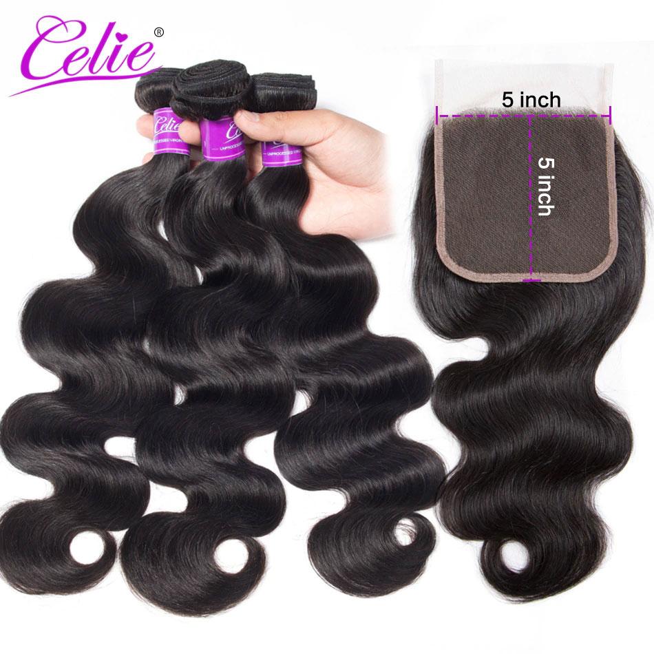 Celie Hair Body Wave Bundles With Lace Closure 5x5 Closure With Bundles Remy Brazilian Human Hair