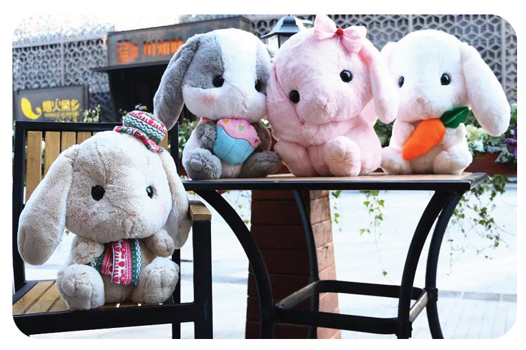 40cm super cute amuse japanese lolita loppy rabbit plush toy, bunny stuffed animal doll stuffed toy valentines gift rabbit plush keychain cute simulation rabbit animal fur doll plush toy kids birthday gift doll keychain bag decorations stuffed