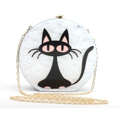 Nouveau femmes noir chat mignon mode sac femme acrylique sac à main rond fourre-tout sac dame Message sac mode dîner dessin animé chat sacs