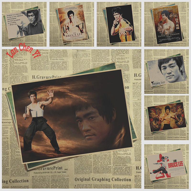 Kung Fu Star Bruce Lee Nostalgic Matte Kraft Paper Poster Office Gift Room Dining Home Decor wall sticker Design