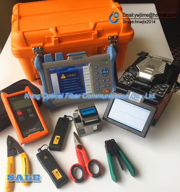 X97 Fibra Óptica Fusionadora + VFL + Medidor de Potencia Óptica + Fuente de Láser Óptico + Kevlar Tijeras + KING96 OTDR 120 KM