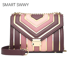 Luxury Handbags Women Bag Designer Chains Leather Shoulder Bags Lady Striped Messenger Bags For Women 2019 Elegant Crossbody Bag elegant women s crossbody bag with metallic and chains design