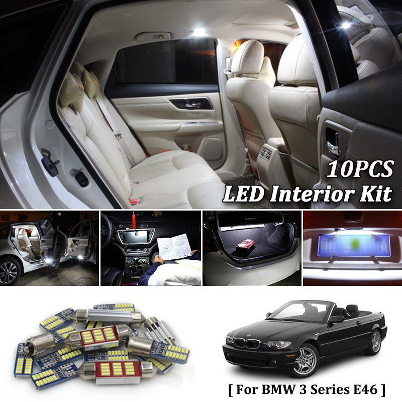 E46 White LED Interior lighting kit M3 convertible 10x BMW 3 Series Tag Lts
