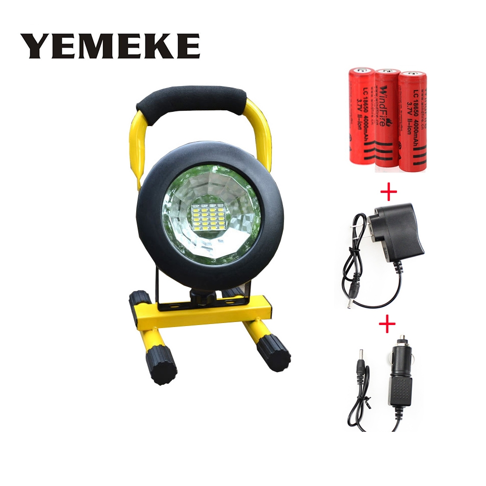 LED Portable Spotlight Rechargeable 24led 5730 LED Floodlight Movable Outdoor Camping Light + 3*18650 Battery + Charger