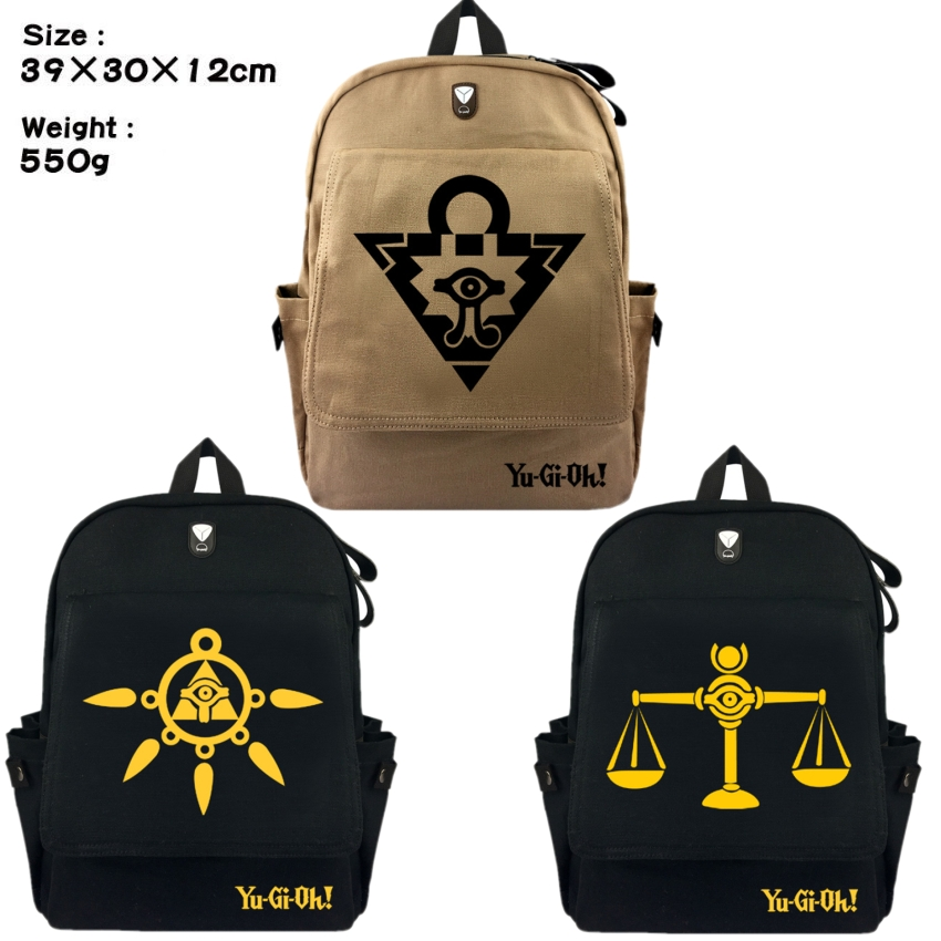 Yu-Gi-Oh Yugi Muto Student School Bag Canvas Backpack Millenium Puzzle Scales Rucksack Travel Bag Shoulder Bag Bookbag