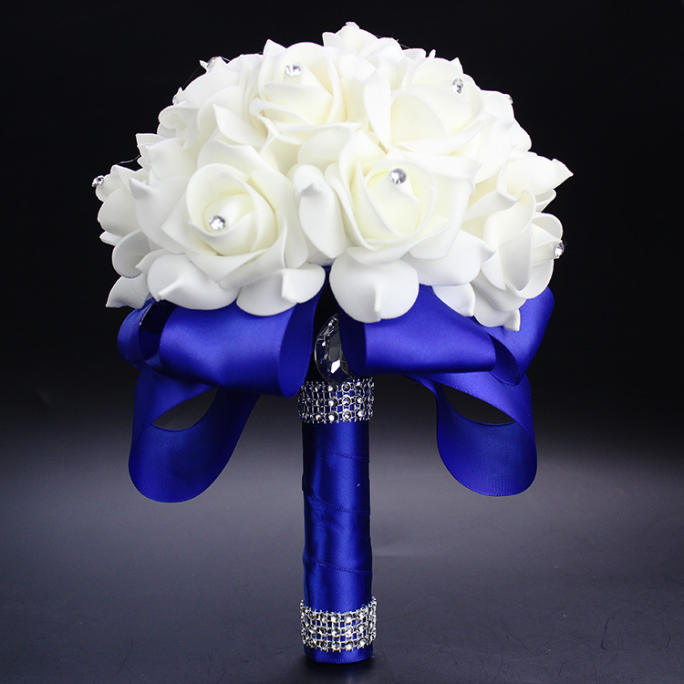 Elegant Royal Blue Purple Red Fuchsia Rose Artificial Bridal Flowers Bride Bouquet Wedding Bouquet Crystal Silk Ribbon
