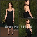 Dianna Agron At Decades of Glamour Black Cocktail Dress Spaghetti Straps Backless Short Prom Dress