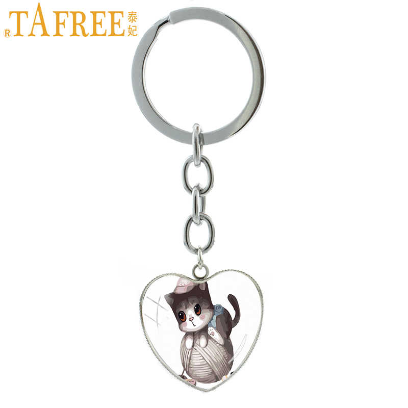 TAFREE Lively Pet cat keychain Teacup line cat  keying ring Glass Carbochon key chain for friend's gift keychain jewelry TB43
