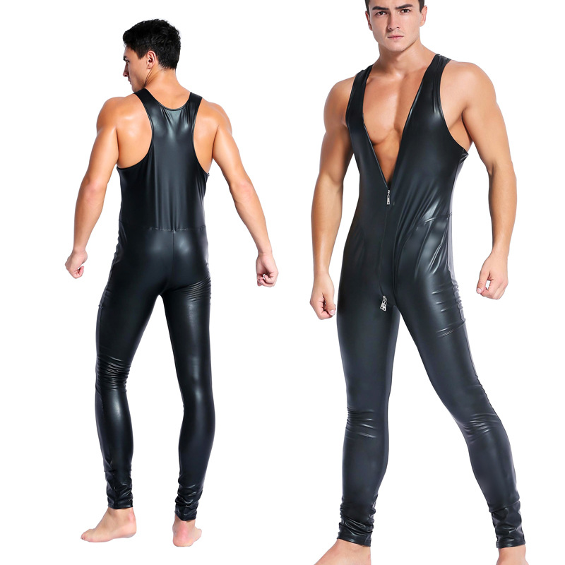 Sexy Faux Leather Sleeveless Men Zentai Catsuit Jumpsuit Bodysuit Stretch Zipper Leotard Bar Nightclub Erotic Costumes Black Red