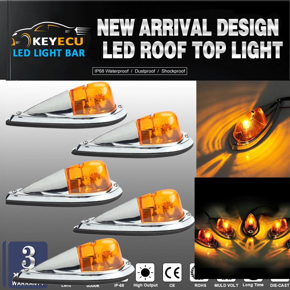 KEYECU 5X Truck Semi-trailer Chrome Base Amber Lens Cab Roof Top Light Amber LED Bulbs Universal for Trucks, trailers, tractors