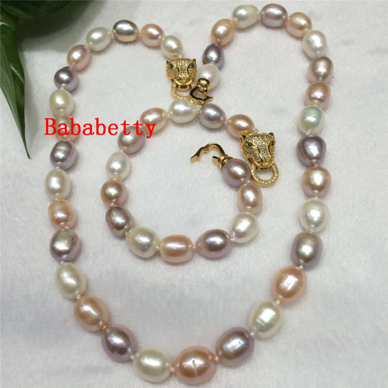 NEW Fashion 11 13 mm natural white Pink purple baroque pearl necklace 19 Bracelets 8 set