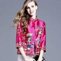 High end women tops autumn royal embroidery vintage floral short coat mandarin collar 3/4 sleeve lady casual jacket female S 4XL