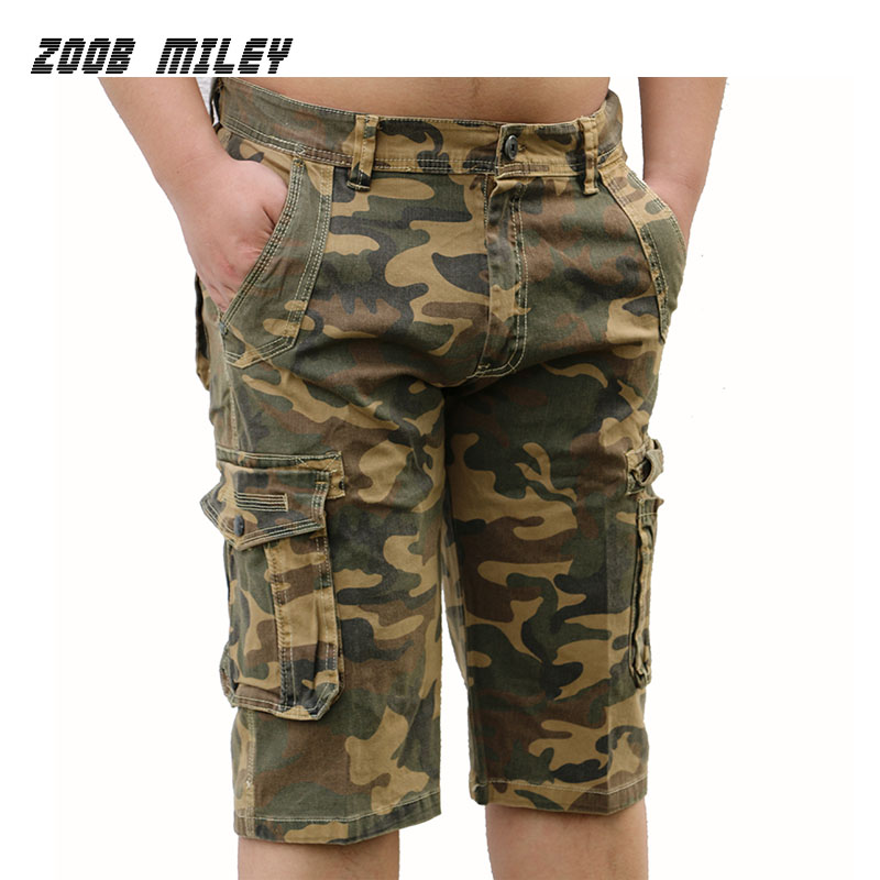 High Quality Mens Cargo Shorts Summer Loose Fit Baggy Cotton Causal Workout Military Camouflage Beach Short Pants Knee Length