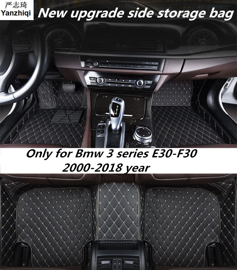 Upgrade leather car <font><b>floor</b></font> <font><b>mats</b></font> for <font><b>Bmw</b></font> 3 series <font><b>E30</b></font>_E36_E46_E90_E91_E92_E93_F30 2000-2018 Custom foot automobile carpet cover image
