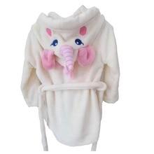 Girls Unicorn Bathrobe Hooded Dressing Gown Cartoon Animal Flannel Sleepwear Nightwear Towelling Bath Rope for Kids White недорого