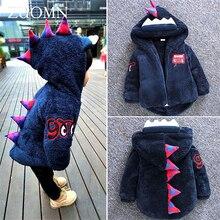 New Cute Dinosaur Baby Girls Coat Hooded Autumn Winter Warm Kids Jacket Outerwear Children Clothing Tops Boys Coats GH300