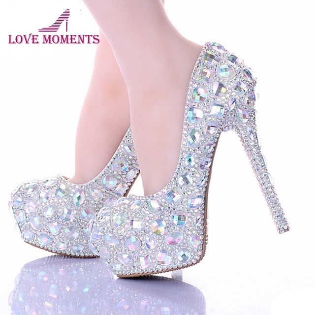 2018 Silver AB Crystal Diamond Exquisite Wedding Shoes Sparkling Rhinestone  Bridal Shoes Evening Prom Party Women Pumps Size 11 1a073905e61a