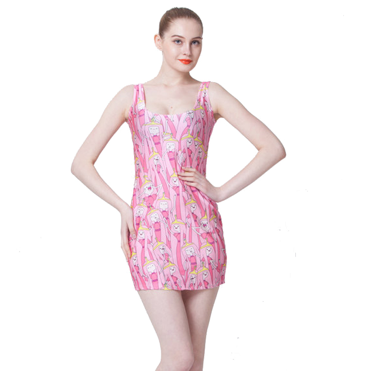 Free size B1107 Fashion Women's 3D printing cartoon game machine prints elastic summer sexy Girl sandbeach one-piece tight dress