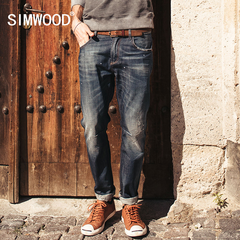 SIMWOOD Brand 2017 New autumn winter  fashion jeans men causal denim pants  long  trousers slim fit Brand Clothing  SJ6038 men s cowboy jeans fashion blue jeans pant men plus sizes regular slim fit denim jean pants male high quality brand jeans