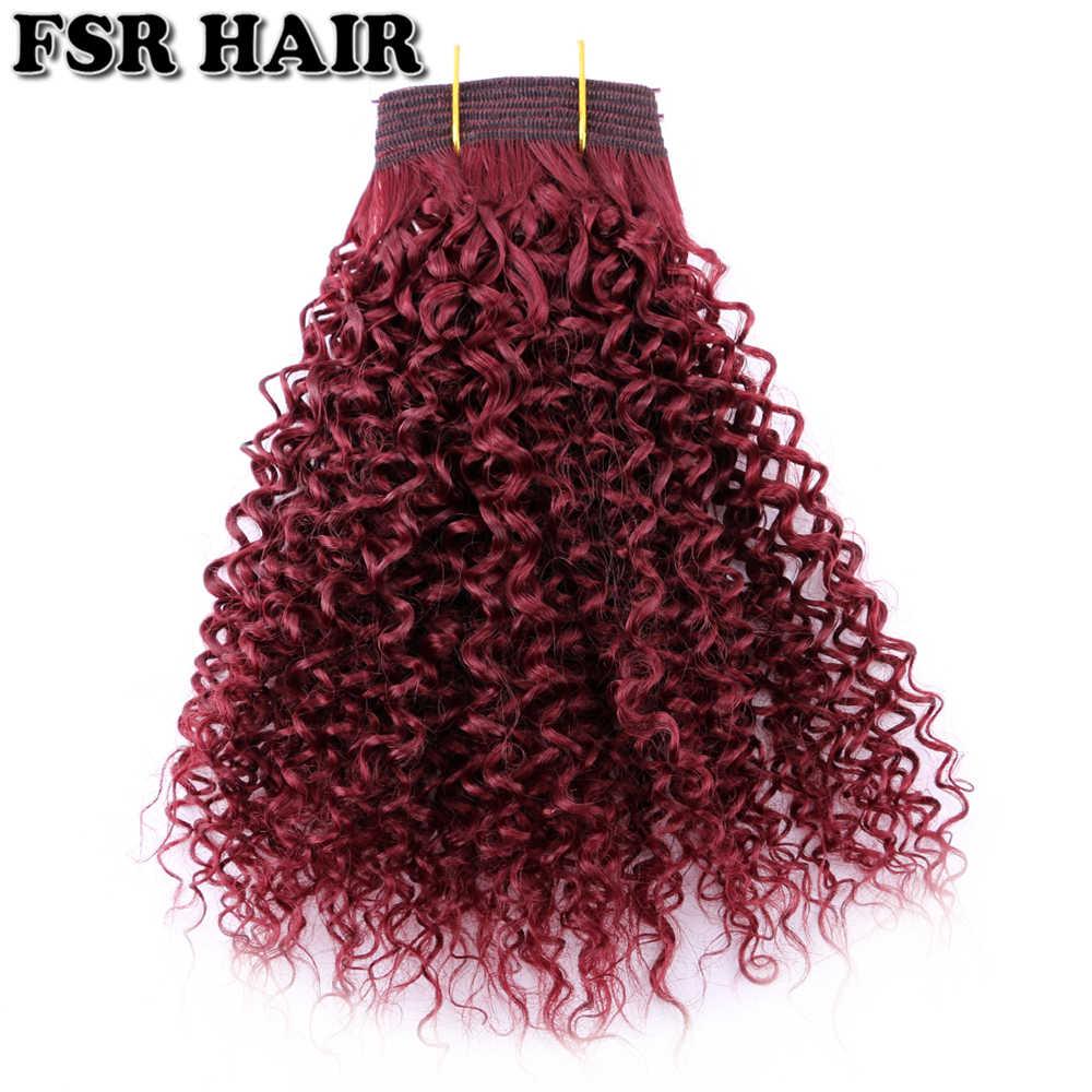 Синтетические курчавые волосы в стиле афро пучки винно-красные кудрявые волосы для наращивания 100 г цельное волокно для плетения волос