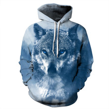 2019 New Fashion Wolf Hoodies Men/Women Thin 3d Sweatshirts With Hat Print Colorful Blocks Hooded Hoodie harajuku
