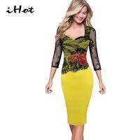 IHOT Floral embroidered dress 2017 fashion women see through party transparent patchwork Black lace plus size 4xl 5xl vestido