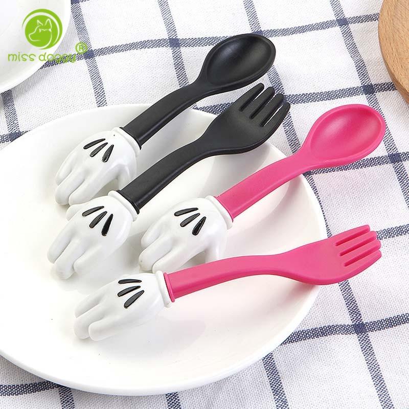 2 PCSSet Children Cartoon Dinner Tableware Forks Accessories Solid Baby Feeding Convenient Dinnerware Sets Cartoon Forks 10E