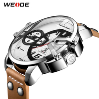 WEIDE Man Luxury Watches Brown Leather Strap Band Quartz Movement Analog Business Clock Hours Wrist Watches Relogio Masculino