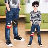 מכנסיים ג 'ינס לילדים גדול ג' ינס דק נערים 2017 ילדי אופנה ילד אביב מכנסיים עיפרון חותלות דגל אמריקאי נועד בגדים