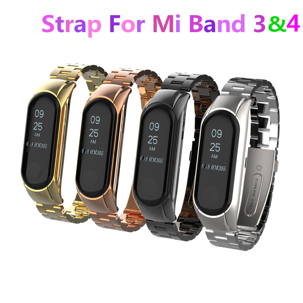 Mi Band 3 Mi Band 4 Replacement Metal Strap Wrist Strap Stainless Steel Bracelet Wristbands MiBand 3 Strap For Xiaomi Mi Band 4