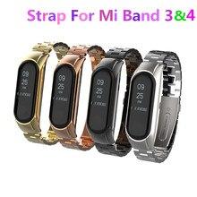 Сменный браслет для Mi Band 3, Mi Band 4, металлический наручный ремешок, браслет из нержавеющей стали, браслет для MiBand 3, ремешок для Xiaomi Mi Band 4