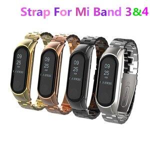 Image 1 - Mi band 3 mi band 4 ersatz Metall Strap handgelenk strap Edelstahl Armband Armbänder MiBand 3 strap für Xiaomi mi band 4