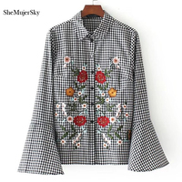 SheMujerSky Women Blouses Embroidery Fashion Shirts Long Flare Sleeve Plaid Ladies Tops Femme Blusa Clothing