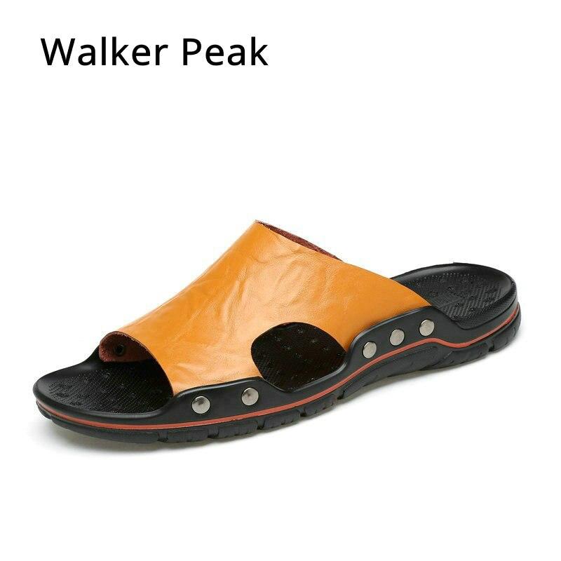 Walker Peak Brand New Slippers High Quality Handmade Cow Genuine Leather Summer Shoes Fashion Men Beach Sandals Flip Flops