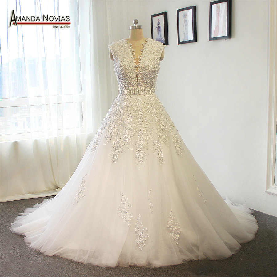 2015 new arrival luxury pearls wedding dress a line lace for Beaded a line wedding dress