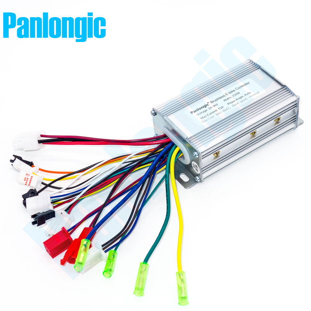 Panlongic 24V/36V 250W Electric Bicycle E-bike Scooter Brushless BLDC Motor Hub Motor Speed Controller Simple Edition panlongic 48 60v 2000w 2kw electric bicycle e bike scooter brushless controller hub motor bldc motor controller 24 mofset