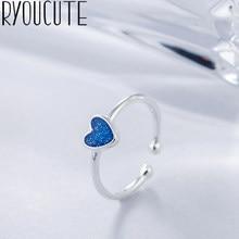 Anéis de prata para mulheres, moda real, cor prata, azul, coração, joia de casamento, punk, retrô, antiguidade, ajustável, tamanho de dedo, anel grande