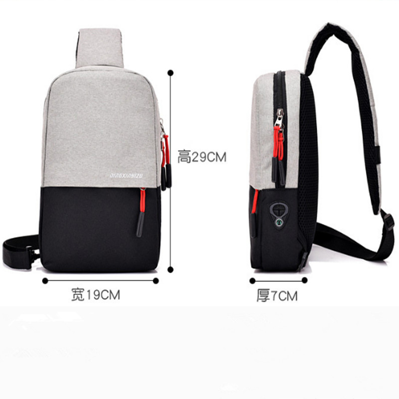 Fashion Men Chest Bag USB Recharge Anti Thief Single Shoulder Bag Short Trip Sling Bag Water Repellent Crossbody Sac A Dos Homme in Waist Packs from Luggage Bags