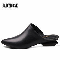 Jady Rose Black Slippers Gladiator Sandals Pointed Toe Women S Sandal Strange Heel Slipper Valentine Shoes