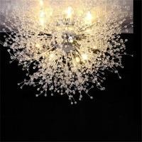 110V 220V 240V Modern Chrome Acrylic LED Chandelier Light Fixture Ceiling Lustre Hotel Project Restaurant Industrial