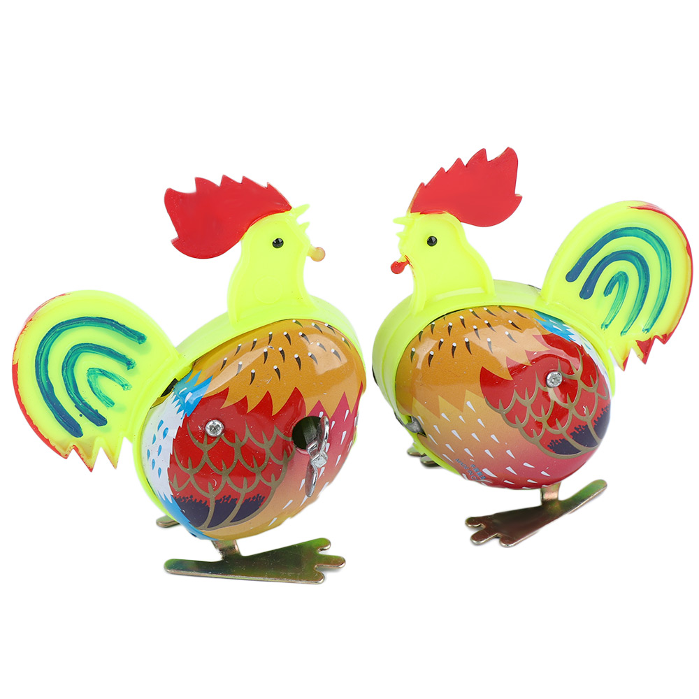 1pc Mini Clockwork Children Plastic Metal Rooster Shape Toy Clockwork Wind Up Toys Kids Educatinal Classic Toys Children Gift rooster