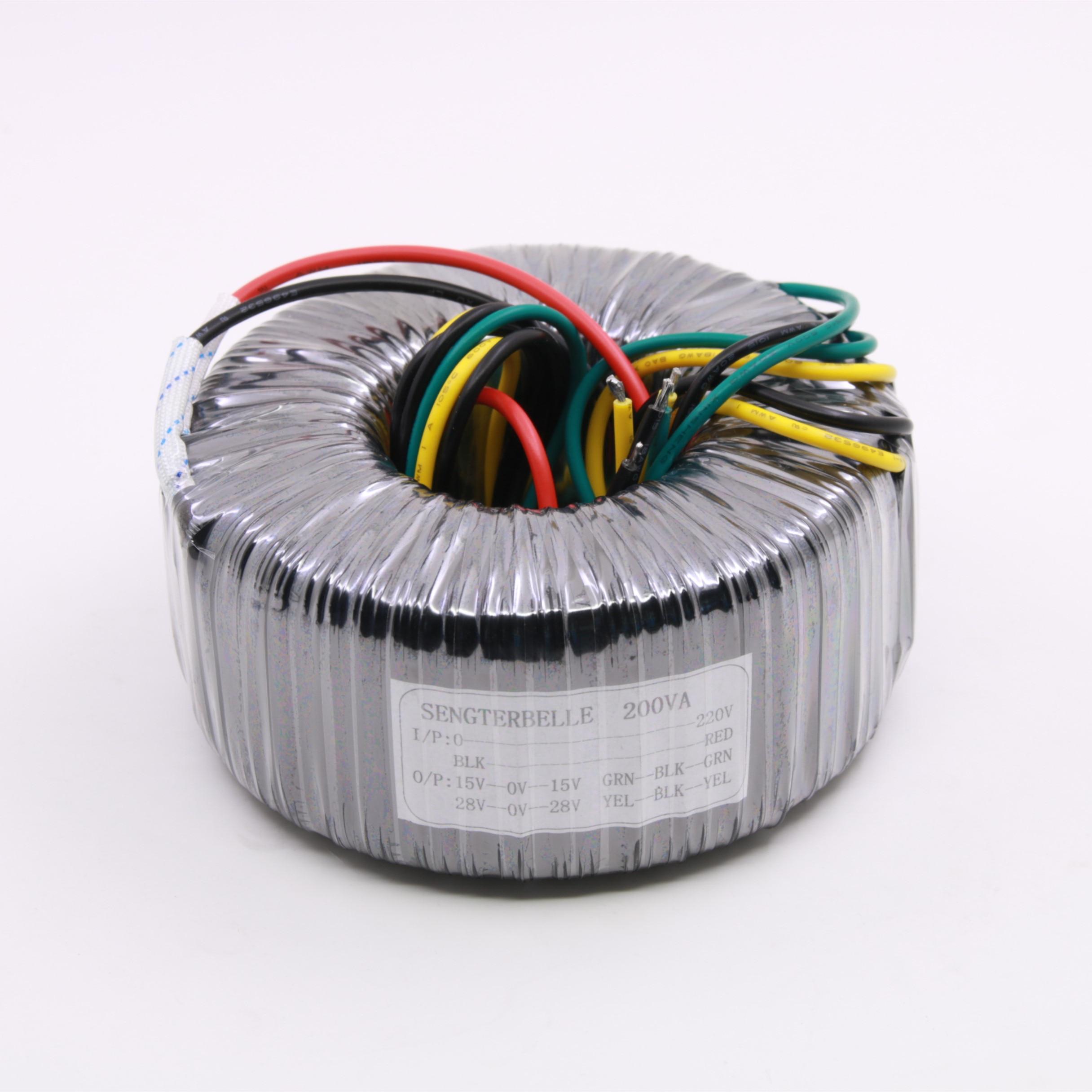 200W pure copper toroidal transformer double 28 double 15V Audio power amplifier power transformer