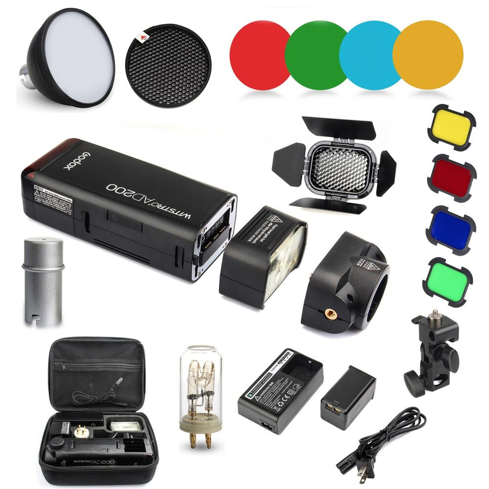 Godox AD200 2.4G TTL Flash 1/8000 HSS Monolight for Nikon Canon Sony + AD-S2 Standard Reflector + AD-S11 Color Filter Gel Pack godox ad200 200ws 2 4g ttl flash 1 8000 hss monolight for nikon for canon for sony