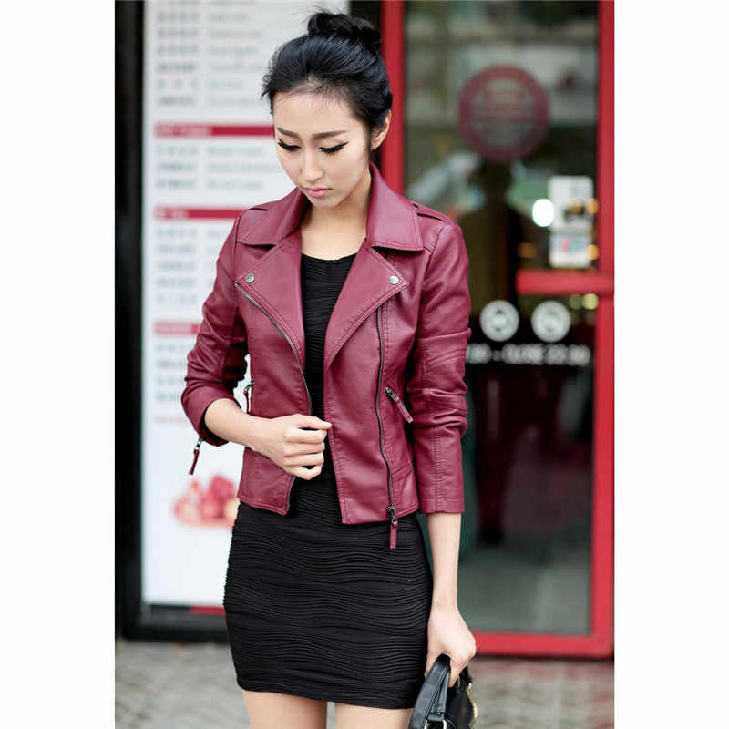 Faux Kulit Mantel Wanita Hitam Merah Anggur S-3XL Plus Ukuran PU Jacket 2019 Musim Gugur Korea Fashion Pendek Slim Ritsleting Kantong mantel JD338