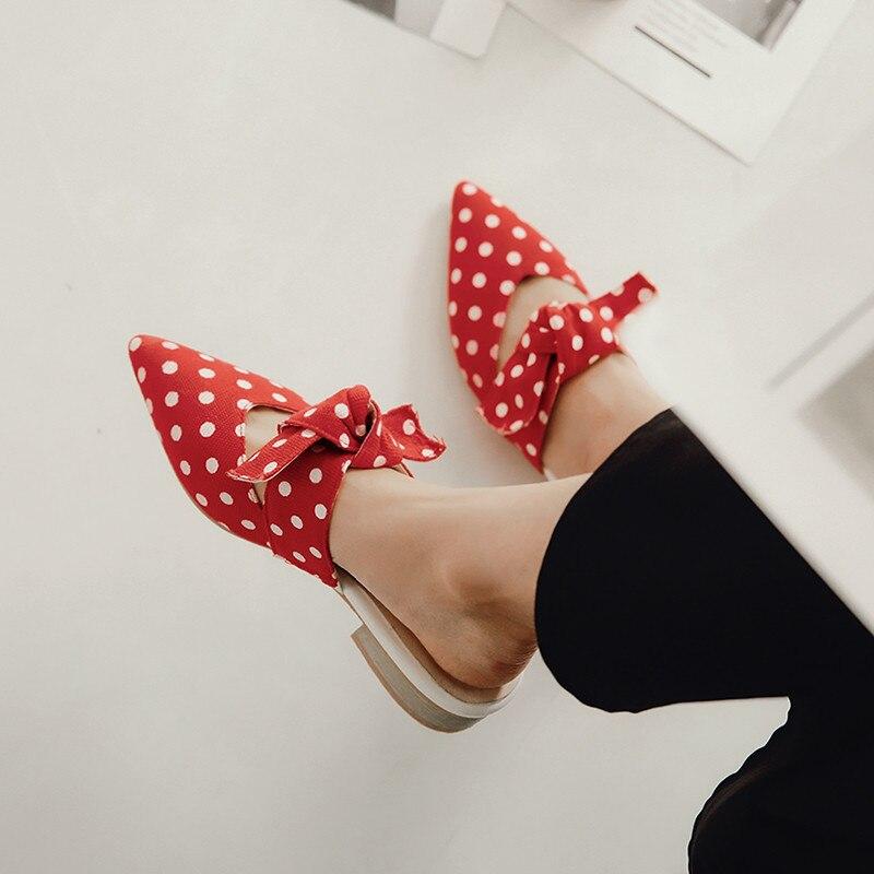 Bout 2018 Talon Pantoufle Bowtie Ymechic Femmes Fermé Pompes Rouge Chaussures Femme Diapositives blanc Dot D'été Dames Noir Faible rouge Mules Pointu Mode wIdd8q