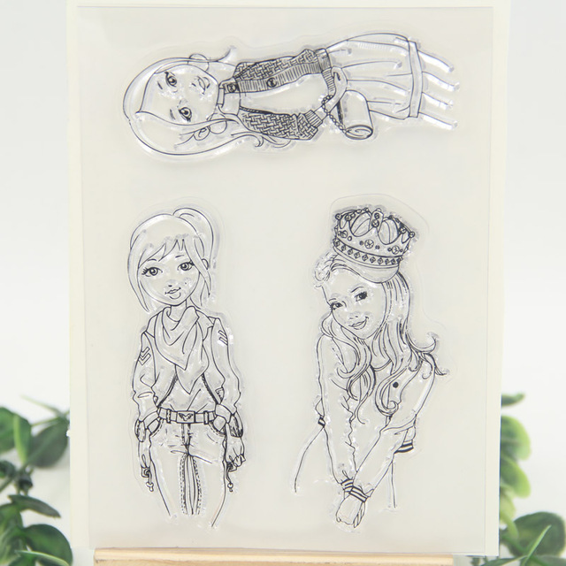 Lovely Girls Transparent Clear Silicone Stamp/Seal for DIY scrapbooking/photo album Decorative clear stamp sheets