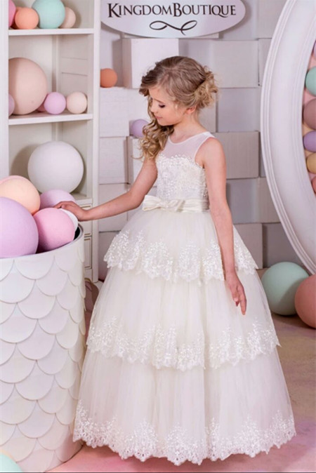 2017 New Little Girls First Communion Dress A-Line Sleeveless Lace with Sash Layers Flower Girl Dresses Vestido Daminha Casament ems dhl free shipping toddler little girl s 2017 princess ruffles layers sleeveless lace dress summer style suspender