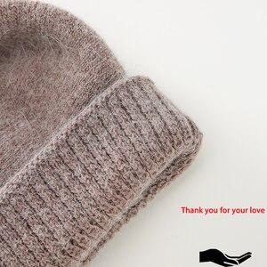 Image 5 - 2017 cappelli di inverno per le donne Berretti cappello con balaclava cappuccio delle Donne gorros cappelli di pelliccia di coniglio per lavorato a maglia delle donne beanie berretti