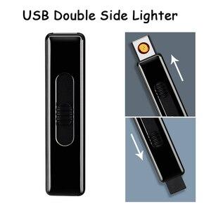 Encendedor de cigarrillos electrónico de doble cara para exteriores EDC, USB, ligero, sin Gas, encendedor de Plasma, encendedor de arco