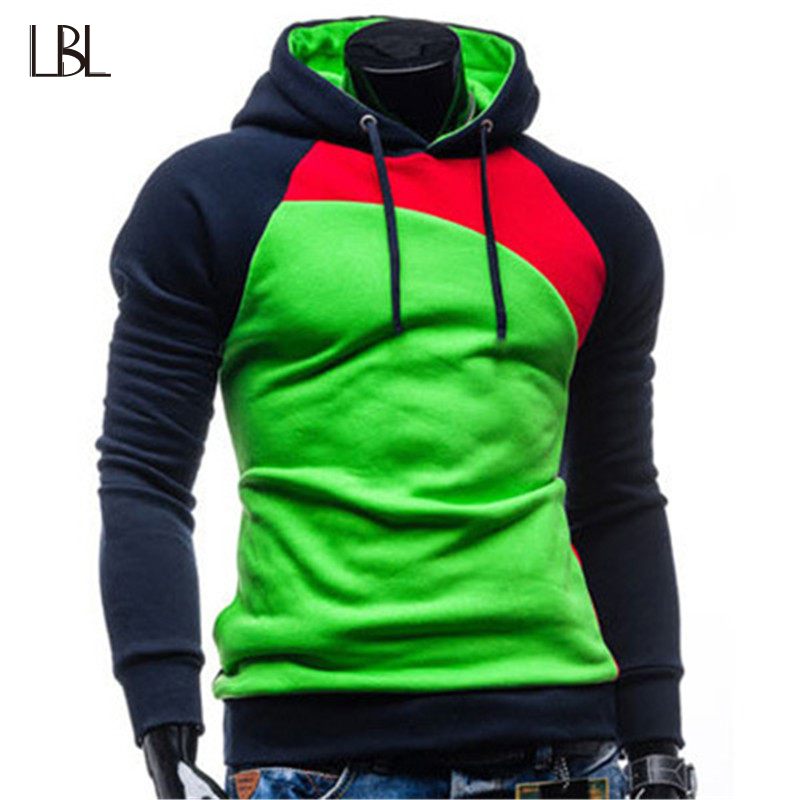 LBL Hoodies Men Casual Slim Sweatshirts Streetwear 2018 Autumn Winter Mens Long Sleeve Hooded Pullover Male Solid Tracksuit Man